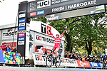 Mads Pedersen (DEN) wins the Men Elite Road Race and is the new World Champion of the UCI World Championships 2019 running 261km from Leeds to Harrogate, England. 29th September 2019.<br /> Picture: Colin Flockton | Cyclefile<br /> <br /> All photos usage must carry mandatory copyright credit (© Cyclefile | Colin Flockton)