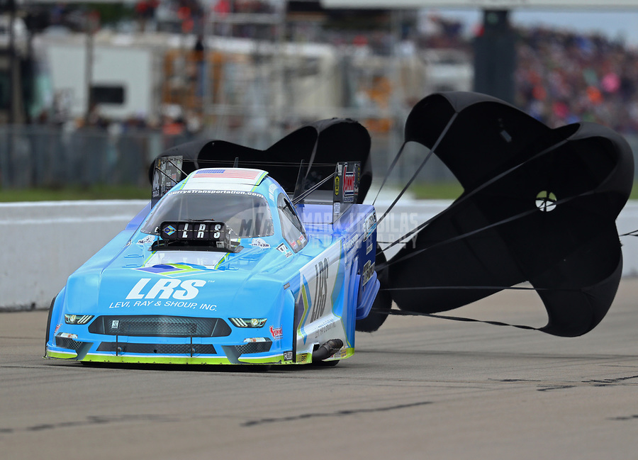 May 20, 2017; Topeka, KS, USA; NHRA funny car driver Tim Wilkerson during qualifying for the Heartland Nationals at Heartland Park Topeka. Mandatory Credit: Mark J. Rebilas-USA TODAY Sports
