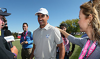 Rafa Cabrera Bello (Team Europe) receives congratulations from his sister Emma Cabrera Bello during the Saturday Morning Foursomes, at the 41st Ryder Cup 2016, at Hazeltine National Golf Club, Minnesota, USA.  01View of the 10th2016. Picture: David Lloyd | Golffile.