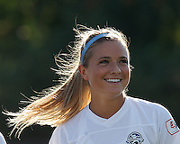 FC Kansas City midfielder Kristie Mewis (19). In a National Women's Soccer League (NWSL) match, Boston Breakers (blue) defeated FC Kansas City (white), 1-0, at Dilboy Stadium on August 10, 2013.