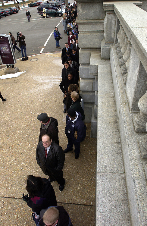Staffers and public prepare to enter the Russell Senate Office Building after the building was declared safe after the ricin scare.