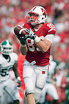 September 26, 2009: Wisconsin Badgers tight end Garrett Graham (89) catches a touchdown pass during an NCAA football game against the Michigan State Spartans at Camp Randall Stadium on September 26, 2009 in Madison, Wisconsin. The Badgers won 38-30. (Photo by David Stluka)