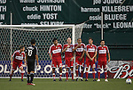 13 June 2009: DC United's Christian Gomez (10) scores a free kick game-winning goal over a wall of Chicago players. DC United defeated the Chicago Fire 2-1 at RFK Stadium in Washington, DC in a regular season Major League Soccer game.