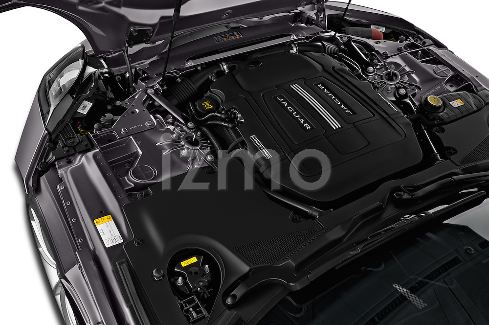 Car Stock 2016 Jaguar F Type S 2 Door Convertible Engine  high angle detail view