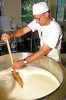 Juniper Grove Farm owner Pierre Kolisch stirs a vat of curds while making cheese. Redmond, Oregon, USA