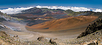 Panoramic view of the crater with some clouds in HALEAKALA NATIONAL PARK on Maui in Hawaii