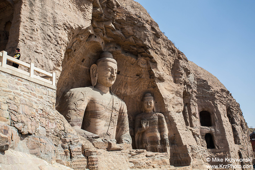 Large Buddha statue carvings at the Yungang Grottoes in Datong, China