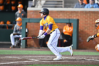 Western Illinois Tyler Estes (20) swings at a pitch during a game against the University of Tennessee at Lindsey Nelson Stadium on February 15, 2020 in Knoxville, Tennessee. The Volunteers defeated Leathernecks 19-0. (Tony Farlow/Four Seam Images)