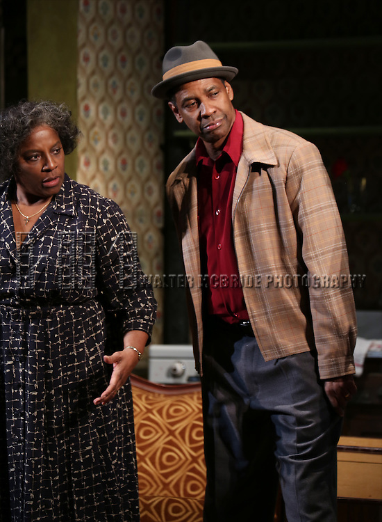 "LaTanya Richardson and Denzel Washngton during the Broadway Opening Night Curtain Call for  ""A Raisin In The Sun""  at the Barrymore Theatre on April 3, 2014 in New York City."