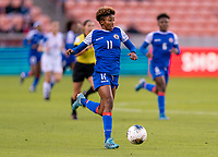 HOUSTON, TX - JANUARY 31: Roseline Eloissaint #11 of Haiti carries the ball upfield during a game between Haiti and Costa Rica at BBVA Stadium on January 31, 2020 in Houston, Texas.