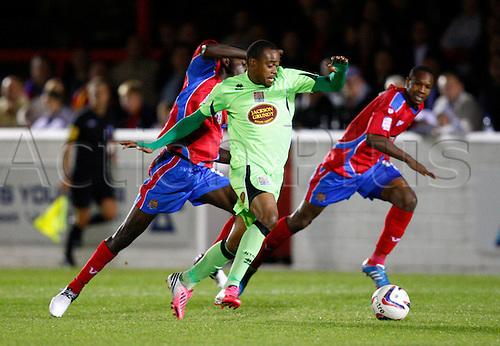 18.09.2012. Dagenham, ENGLAND: ..Adebayo Akinfenwa of Northampton Town in action during the English League Two match between Dagenham & Redbridge and Northampton Town at The L.B Barking & Dagenham Stadium, London