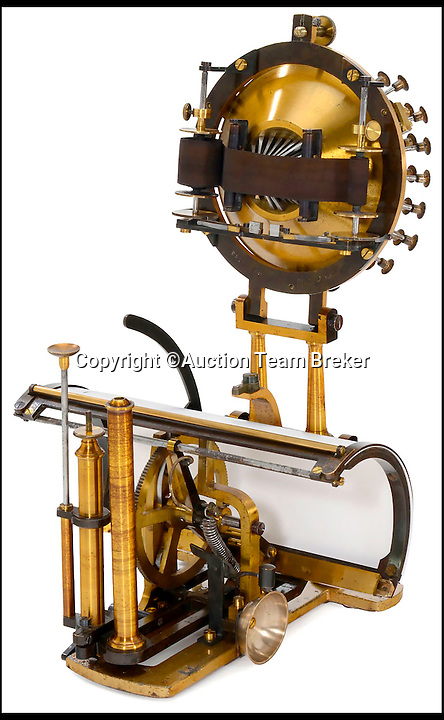 BNPS.co.uk (01202 558833)<br /> Pic: AuctionTeamBreker/BNPS<br /> <br /> Not a typo...worlds oldest production machine sells for a whopping &pound;80,000.<br /> <br /> The Malling-Hansen Writing Ball was invented and put into production in the late 1860's to early 1870's and was the earliest typewriter to be made. <br /> <br /> Only 180 of these typewriters were ever produced and to this day there are only 6 machines still in private collector's hands. <br /> <br /> German auction house Team Breker sold the historic machine at the weekend.