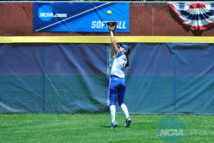 SALEM, VA - MAY 29:  Brooke Mangold (2) of Angelo State University makes a catch against Minnesota State University during the Division II Women's Softball Championship held at Moyer Park on May 29, 2017 in Salem, Virginia. Minnesota State defeated Angelo State 5-1 to win the national championship. (Photo by Andres Alonso/NCAA Photos via Getty Images)