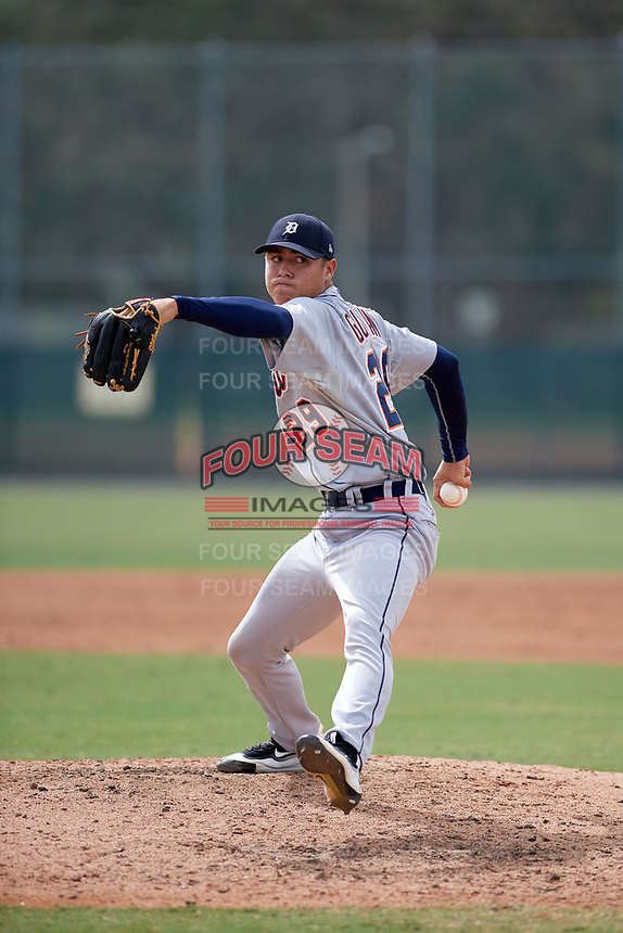 Detroit Tigers pitcher Carlos Guzman (29) delivers a pitch during an Instructional League game against the Pittsburgh Pirates on October 6, 2017 at Pirate City in Bradenton, Florida.  (Mike Janes/Four Seam Images)
