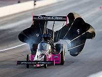 Oct 29, 2016; Las Vegas, NV, USA; NHRA top fuel driver Clay Millican during qualifying for the Toyota Nationals at The Strip at Las Vegas Motor Speedway. Mandatory Credit: Mark J. Rebilas-USA TODAY Sports
