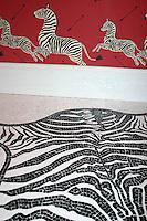 Custom Zebra Skin Rug in Nero Marquina and Thassos polished