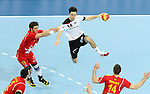 20.01.2013 Barcelona, Spain. IHF men's world championship, eighth.final. Picture show Patrick Groetzki  in action during game between Germany  vs FYRO Macedonia at Palau st Jordi