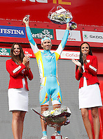 Fredrik Kessiakoff celebrates the victory in the stage of La Vuelta 2012 between Cambados and Pontevedra.Individual Time Trials.August 29,2012. (ALTERPHOTOS/Paola Otero) /Nortephoto.com<br />