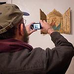 Victor Landweber photographs a golden triptych, Mission San Antonio de Padua, California, during the 3rd Al Weber Mission Portfolio Workshop, April 2011.