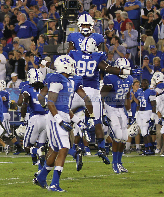 University of Kentucky junior Donte Rumph celebrates sacking USC QB Connor Shaw in Lexington, Ky., on Saturday, September, 29, 2012. Photo by James Holt | Staff