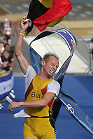 26 SEP 2004 - SWANSEA, SOUTH WALES, UK   - Jurgen Dereere (BEL) wins the elite mens title at the European Duathlon Championships. (PHOTO (C) NIGEL FARROW)