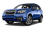 Stock pictures of low aggressive front three quarter view of a 2017 Subaru Forester Premium 5 Door SUV