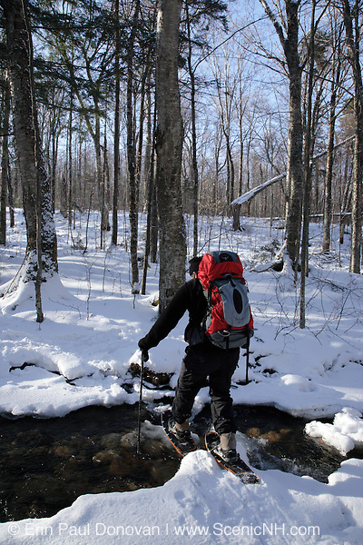 Hiker on Garfield Trail in the White Mountains of New Hampshire during the winter months.