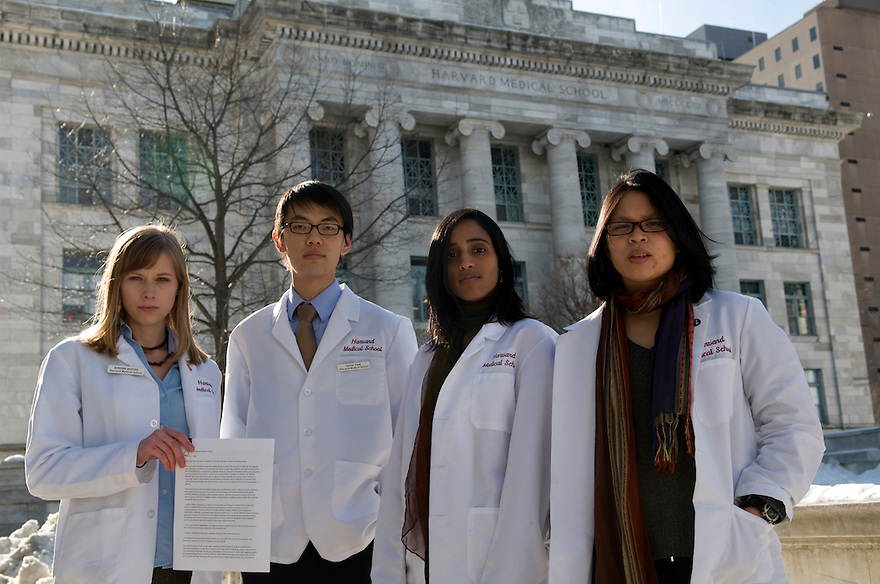 BOSTON, MA.--January 26, 2009--Harvard University Students who, as members of the American Medical Student Association, are working to promote ethical policies on campus. From left, Kirsten Austad, David Tian, Lekshmi Santhosh and Kim Sue. .JODI HILTON FOR THE NEW YORK TIMES