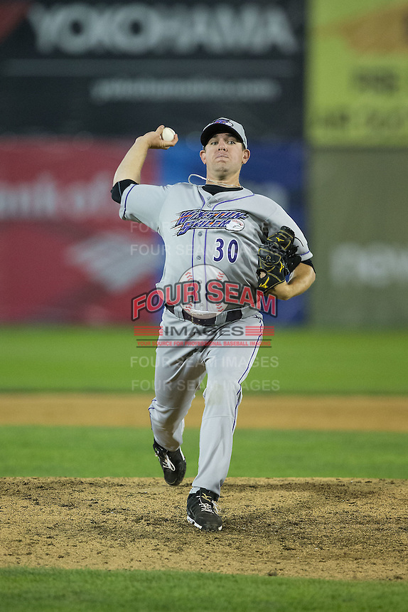 Winston-Salem Dash relief pitcher Brad Goldberg (30) in action against the Salem Red Sox at LewisGale Field at Salem Memorial Ballpark on May 13, 2015 in Salem, Virginia.  The Red Sox defeated the Dash 8-2.  (Brian Westerholt/Four Seam Images)