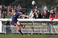 Peter Lydon of London Scottish kicks a conversion during the Greene King IPA Championship match between London Scottish Football Club and Jersey at Richmond Athletic Ground, Richmond, United Kingdom on 18 February 2017. Photo by David Horn / PRiME Media Images.