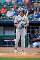 Midland RockHounds first baseman Viosergy Rosa (34) at bat during a game against the Northwest Arkansas Naturals on May 27, 2017 at Arvest Ballpark in Springdale, Arkansas.  NW Arkansas defeated Midland 3-2.  (Mike Janes/Four Seam Images)
