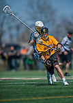 16 April 2016: University of Maryland, Baltimore County Retriever Midfielder and Face Off specialist Steven Larson, a Junior from Scottsdale, AZ, in action against the University of Vermont Catamounts at Virtue Field in Burlington, Vermont. The Retrievers fell to the Catamounts 14-10 in NCAA Division I play. Mandatory Credit: Ed Wolfstein Photo *** RAW (NEF) Image File Available ***