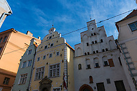 The oldest buildings in old town of Riga, the three brothers, Riga, Latvia