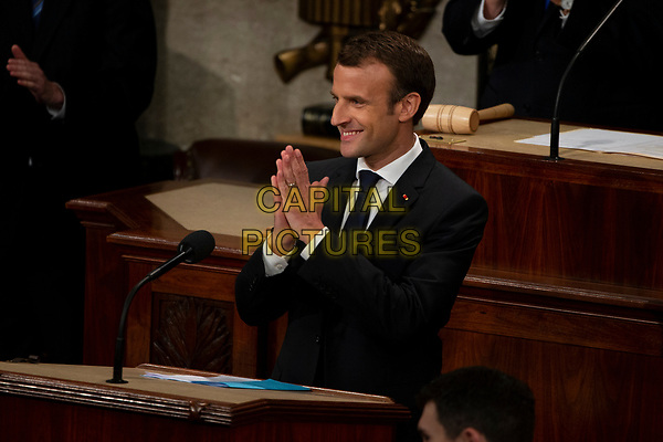 French President Emmanuel Macron delivers a joint address to the United States congress at the United States Capitol in Washington, DC on April 25, 2018.  /MediaPunch<br /> CAP/MPI/CNP/RS<br /> &copy;RS/CNP/MPI/Capital Pictures