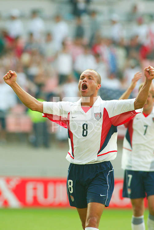 Ernie Stewart celebrates after defeating Mexico in the  second round of the World Cup, in Jeonju, Soth Korea, Monday June 17, 2002. Images provided in partnership with International Sports Images. (Please credit: John Todd/Int'l Sports Images/DSA)