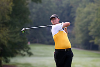 SAPPHIRE, NC - OCTOBER 01: Kristian Tannum Donaldson of Virginia Commonwealth University tees off at The Country Club of Sapphire Valley on October 01, 2019 in Sapphire, North Carolina.