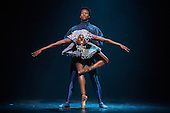 London, UK. 17 March 2016. Cristaux performed by Cira Robinson and Mthuthuzeli November. Ballet Black present a Triple Bill at the Barbican Theatre on 18 and 19 March 2016. Premiere of Cristaux choreographed by Arthur Pita, the premiere of To Begin, Begin by Christopher Marney and a reworked version of Storyville by Christopher Hampson. Dancers performing are Cira Robinson, Kanika Carr, Isabela Coracy, Sayaka Ichikawa, Damien Johnson, Jacob Wye, Mthuthuzeli November and Joshua Harriette.
