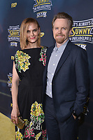 """HOLLYWOOD - SEPTEMBER 24: David Hornsby and Emily Deschanel attend the red carpet premiere event for FXX's """"It's Always Sunny in Philadelphia"""" Season 14 at TCL Chinese 6 Theatres on September 24, 2019 in Hollywood, California. (Photo by Stewart Cook/FXX/PictureGroup)"""