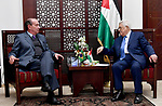 Palestinian President Mahmoud Abbas meets with the Brazilian Foreign Minister Aloysio Núñez, in the West Bank city of Ramallah, on March 1, 2018. Photo by Osama Falah