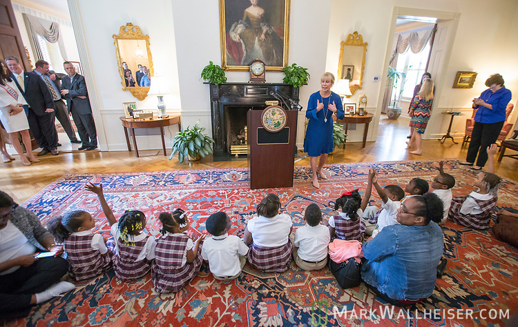 "First Lady Ann Scott speaks during a press conference to launch Prevent Child Abuse with Florida's annual ""Pinwheels for Prevention"" campaign at the Florida Governor's Mansion."