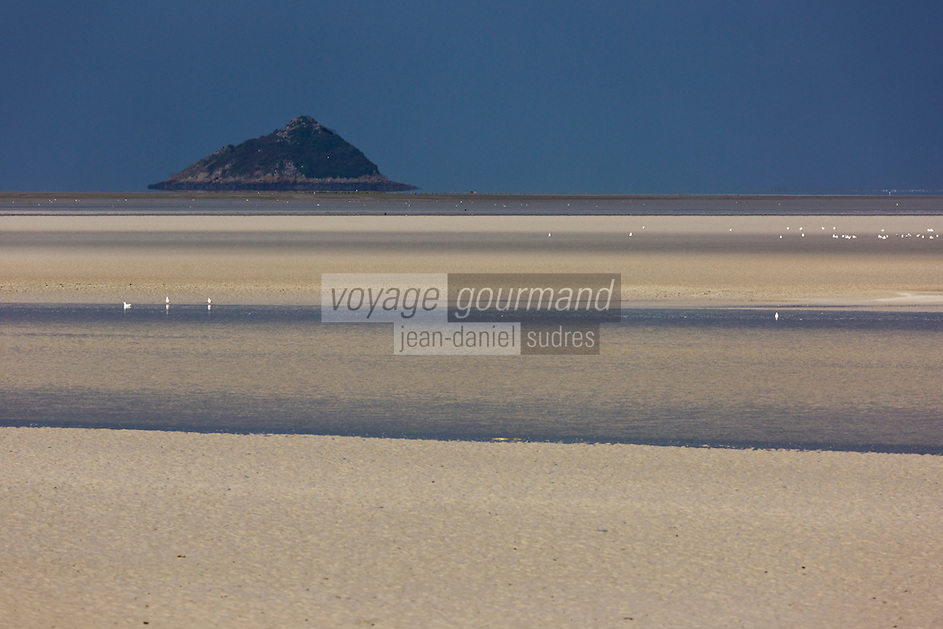 Europe/France/Normandie/Basse-Normandie/50/Manche/ Courtilss : Baie du Mont Saint-Michel, classée Patrimoine Mondial de l'UNESCO, îlot de Tombelaine  // Europe/France/Normandie/Basse-Normandie/50/Manche/ Vains : Bay of Mont Saint Michel, ,listed as World Heritage by UNESCO,  Tombelaine Island
