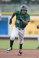 Great Lakes Loons outfielder Carlos Rincon (40) runs to third base against the Bowling Green Hot Rods during the Midwest League baseball game on June 4, 2017 at Dow Diamond in Midland, Michigan. Great Lakes defeated Bowling Green 11-0. (Andrew Woolley/Four Seam Images)