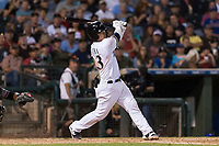 AFL West second baseman Keston Hiura (23), of the Peoria Javelinas and Milwaukee Brewers organization, follows through on his swing during the Arizona Fall League Fall Stars game at Surprise Stadium on November 3, 2018 in Surprise, Arizona. The AFL West defeated the AFL East 7-6 . (Zachary Lucy/Four Seam Images)