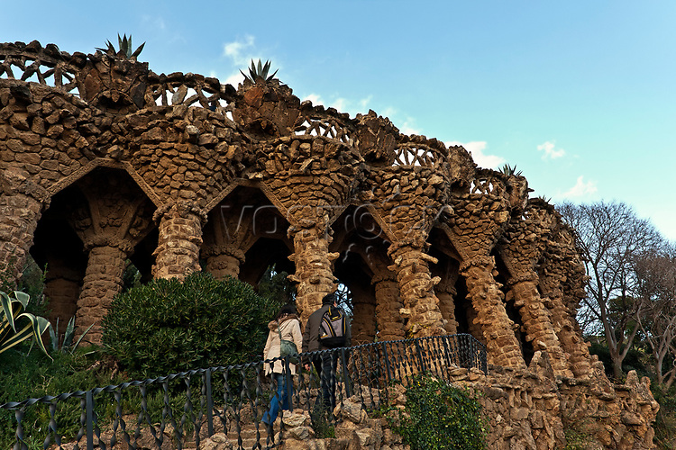 Gaudi architecture, Parc Guell, UNESCO World Heritage Site, Barcelona, Catalunya, Catalonia, or Cataluna, Spain, Europe