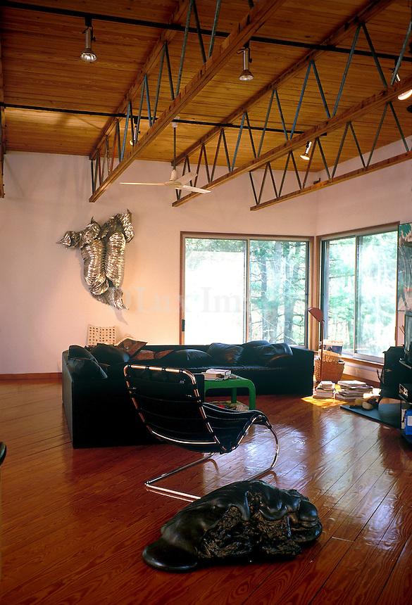 art deco wooden living room