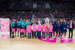 Estudiantes players and FC Barcelona Lassa players take family photo in support of breast cancer during Liga Endesa match between Estudiantes and FC Barcelona Lassa at Wizink Center in Madrid, Spain. October 22, 2017. (ALTERPHOTOS/Borja B.Hojas)