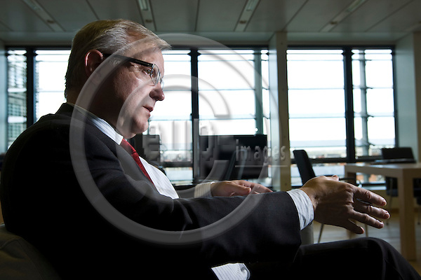 BRUSSELS - BELGIUM - 18 OCTOBER 2011 -- Olli REHN, EU-Commissioner in charge of Economic and Monetary Affairs during an interview in his office. -- PHOTO: Juha ROININEN /  EUP-IMAGES