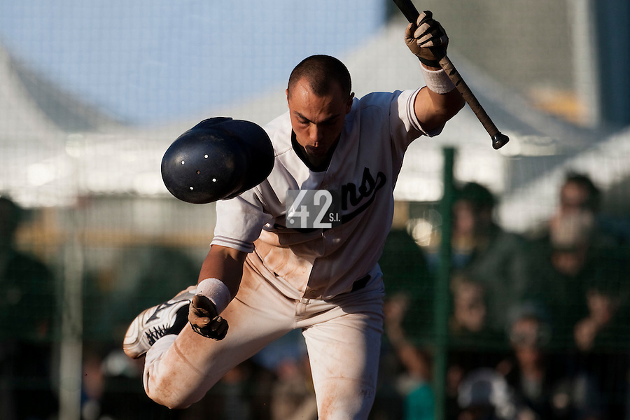 10 october 2009: Yann Dal Zotto of Savigny avoids a foul ball during to game 3 of the 2009 French Elite Finals won 4-2 by Savigny over Rouen, at Stade Jean Moulin stadium in Savigny sur Orge, near Paris, France.