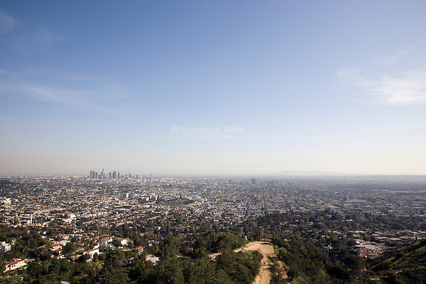 View of downtown Los Angeles from the Griffith Observatory at Griffith Park.