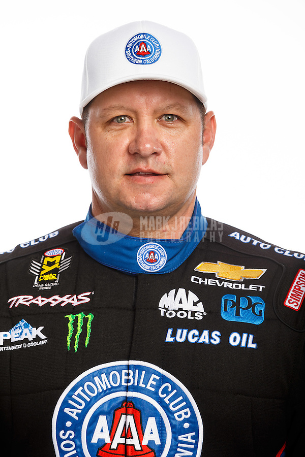 Feb 10, 2016; Pomona, CA, USA; NHRA funny car driver Robert Hight poses for a portrait during media day at Auto Club Raceway at Pomona. Mandatory Credit: Mark J. Rebilas-USA TODAY Sports